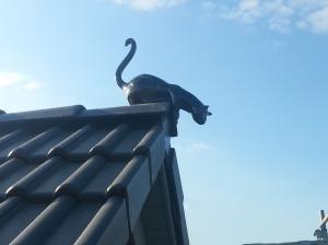 Die Katze ist endlich auf dem Dach angekommen